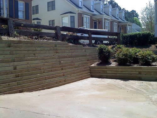 pressure treated timber retaining wall   This is an after pi…   Flickr
