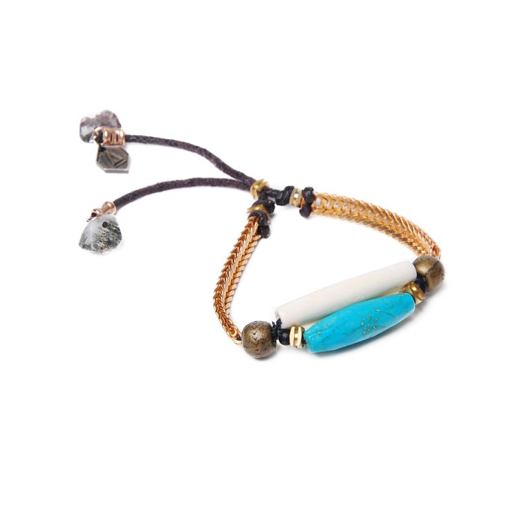 Artifacts - Cactus Lake Bracelet - Bone, turquoise, and quartz