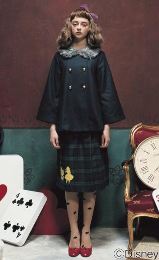 シロップ.|シルエットプリントのブラックウォッチプリーツスカート|フェリシモ