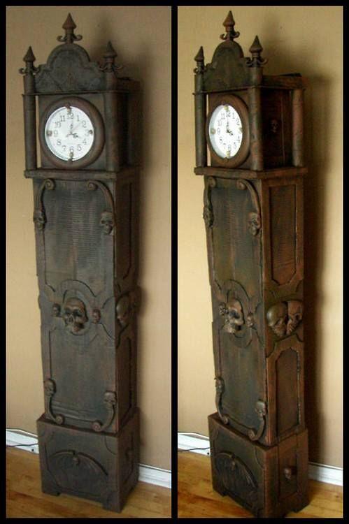 DIY Dollar Store and Cardboard Boxes Halloween Grandfather Clock http://www.halloweenforum.com/halloween-props/120838-grandfather-clock-cardboard-dollar-store-items.html