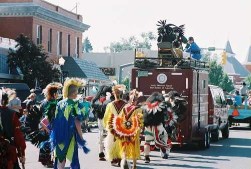 Koshare dancers get ready to dance in the streets during the Settlers Day Parade in La Junta.  Public domain. Photo by Wyvonne Phillips Gr...