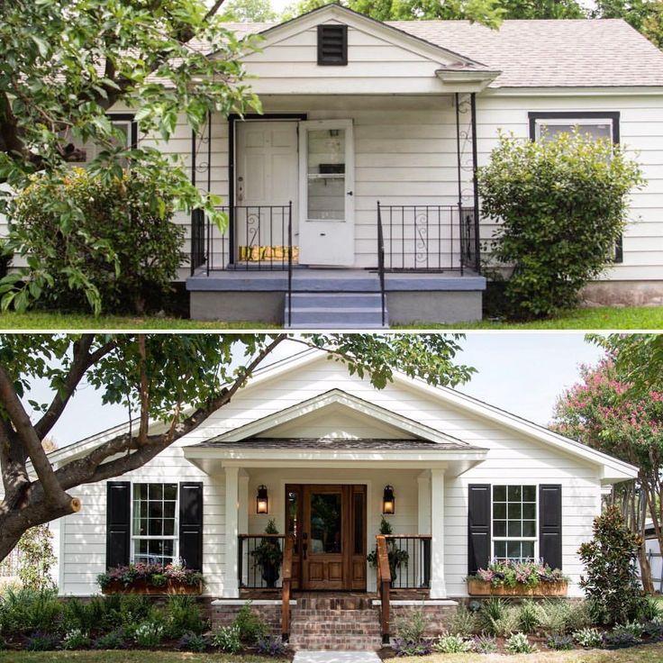 Fixer Upper exterior before/after. Replace door, porch columns, shutters, porch steps