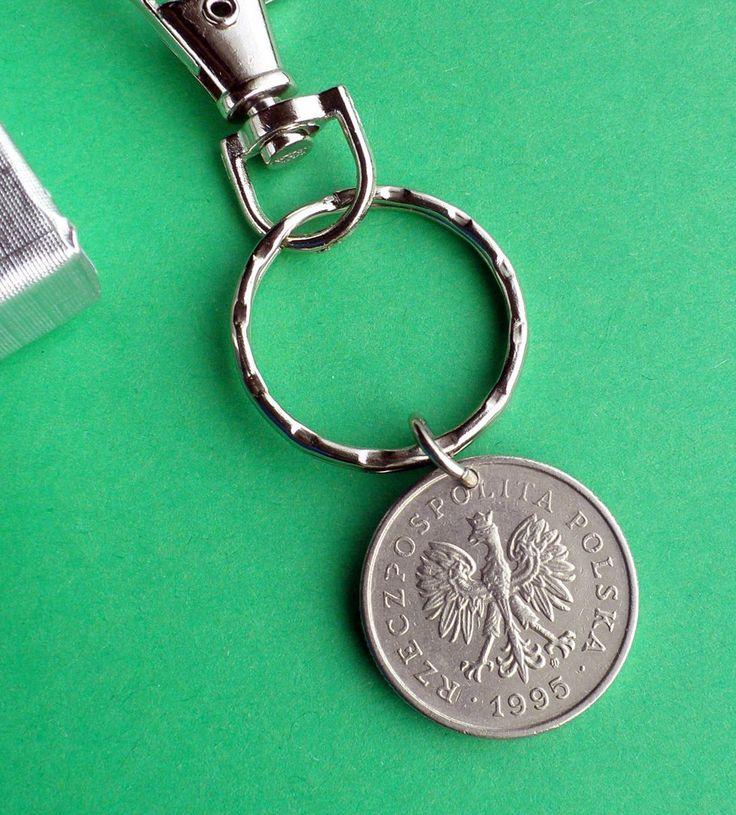 21st Birthday 1995 Poland coin Purse Charm, 1 Zloty Polish Zipper Pull, Nickle…