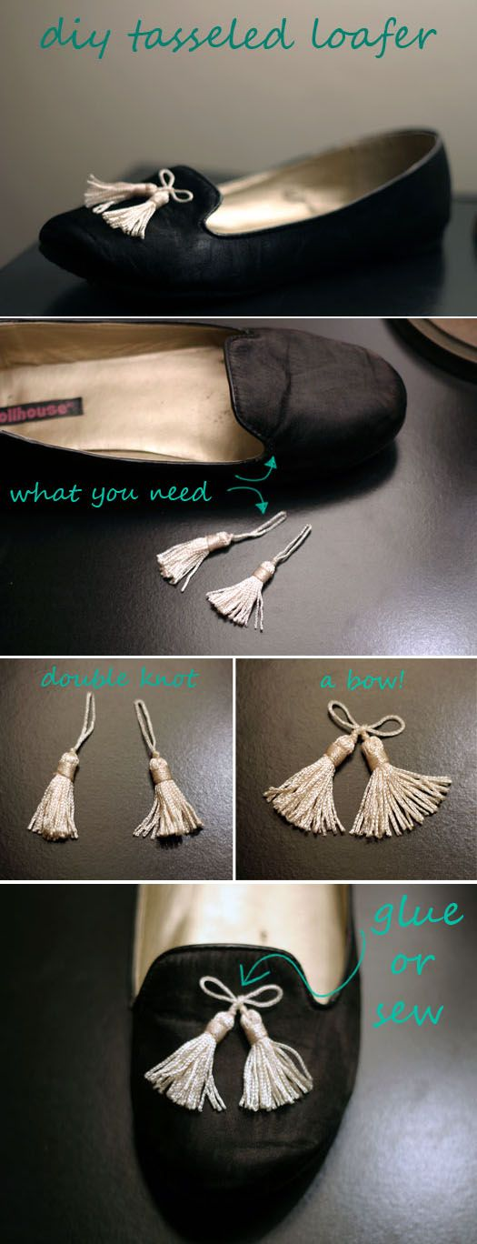 diy tassel loafter (could use this same technique to decorate just about anything!)