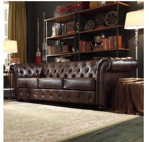 Dynamic Chesterfield Brown Leather Sofa! Rich Espresso Color And A Classic  Button Tufted Back.