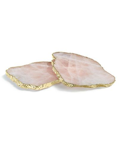 these coasters are everything! Kivita Coaster - Rose Quartz / Gold