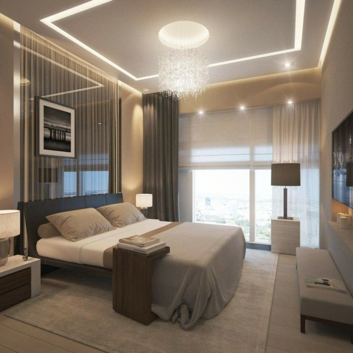 deko ideen schlafzimmerschönes wanddesign abgehängte decke