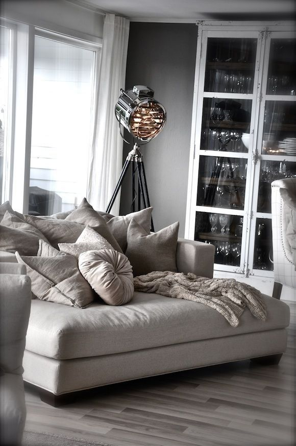 love this oversized chaise armchair minus a couple of those pillows u0026 the industrial lamp