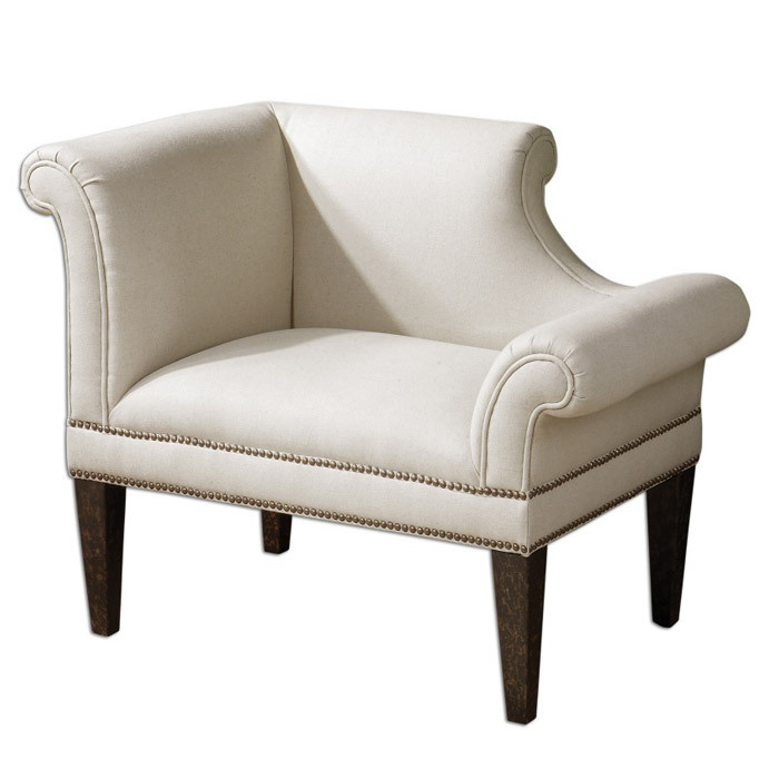 White linen upholstery and curvy detailsNature Wood, White Linens, Arm Chairs, Upholstered Chairs, Master Bedrooms, Furniture, Families Room, Wood Frames, Fontaine Armchairs