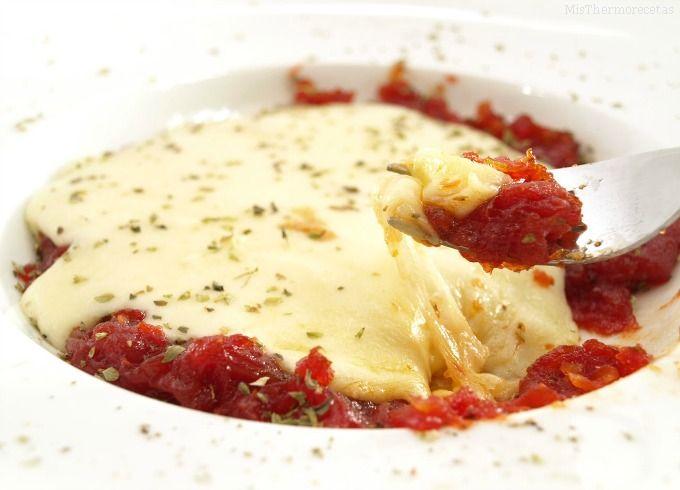 Tomate confitado con queso provolone - MisThermorecetas.com