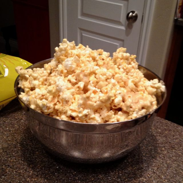 Marshmallow popcorn! 3 bags popcorn (pop and take out extra kernels)  2 sticks of butter 16 oz bag of marshmallows 1 cup brown sugar  Microwave butter, marshmallows, and brown sugar for 2 1/2 min. Take out and stir. Microwave again for 1 min. Repeat until thin sauce. When done pour over popcorn and mix. YUM!