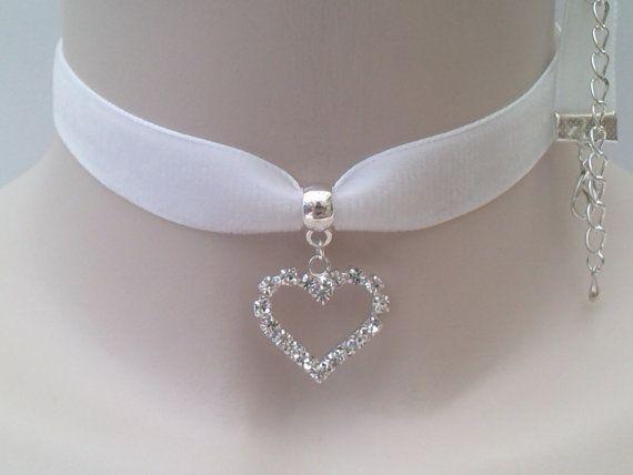CRYSTAL RHINESTONE HEART Charm Pendant  -  White Velvet Ribbon Choker Necklace -mn... or choose another colour velvet on Etsy, $5.84 CAD
