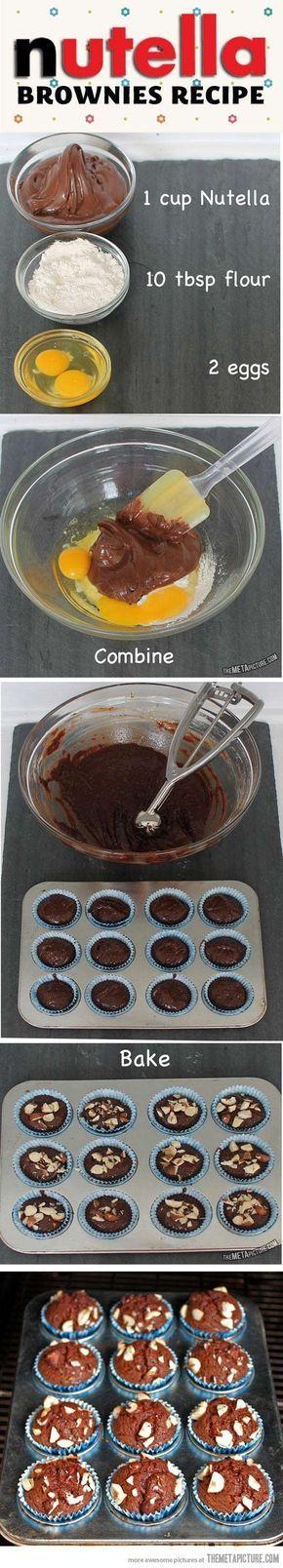 Nutella Brownie Recipe desert nutella recipe brownies recipes easy recipes food tutorials food tutorial