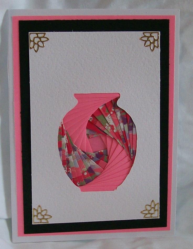Iris Folded Pink Vase Card.
