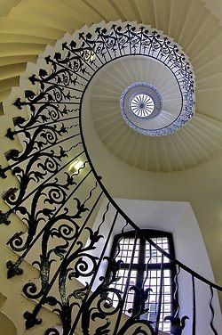 tulip staircase inside Queen's House in Greenwich, London (photo by AndreaPucci)...