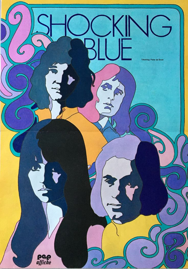 "1972 PETER DE SMET illustration of SHOCKING BLUE for ""PEP"" COMICS from the Netherlands. Mostly comic art...Sometimes came w/ posters. He also has a similar  T.REX illustration for the same magazine..hoping to find more!"