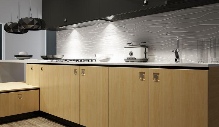 I like this wavy effect Kitchen Splashback wwww.3dmodular.co.uk
