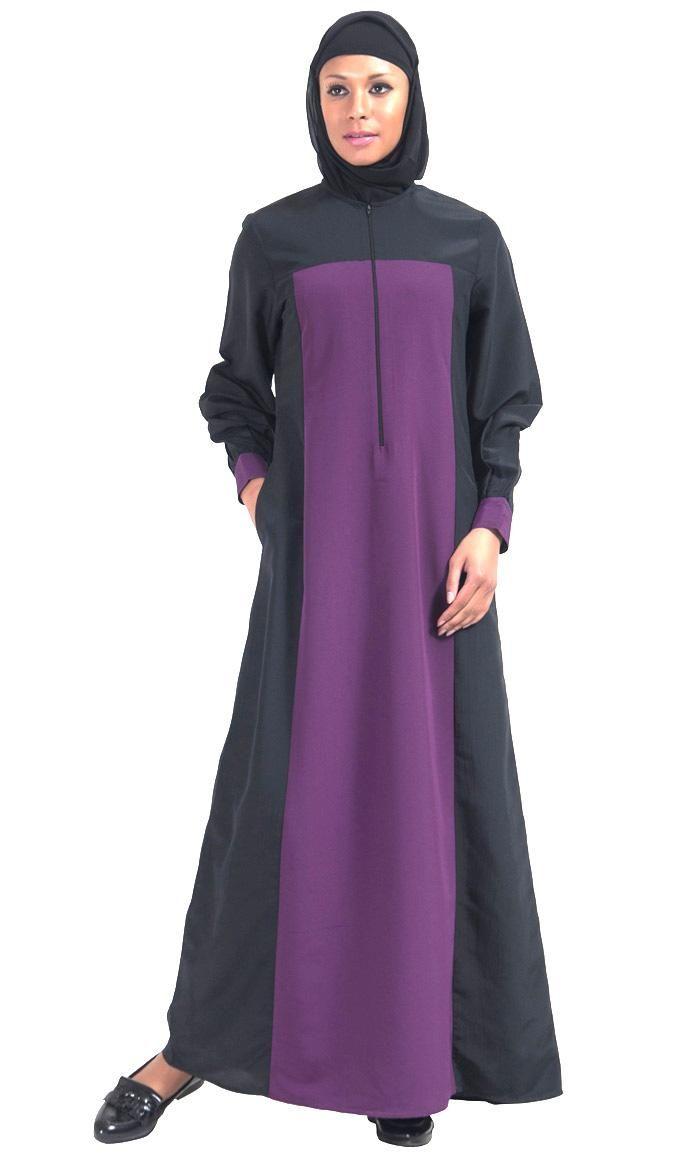 #Kilam - #EastEssence Purple Color Block Everyday Abaya - AdoreWe.com