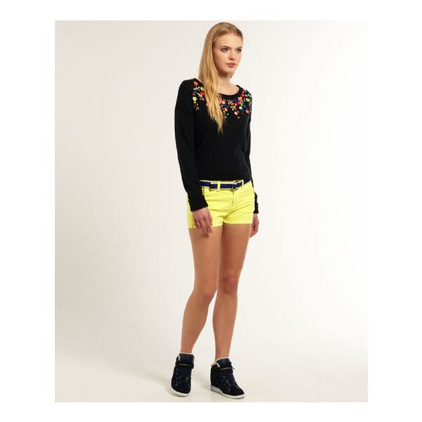 Superdry International Hot Shorts (705 ARS) ❤ liked on Polyvore featuring shorts, navy, hot cotton pants, striped shorts, micro shorts, superdry shorts and hot pants