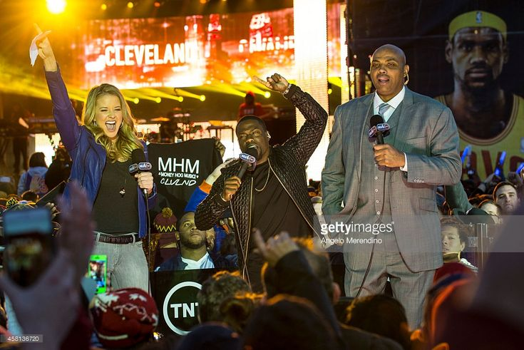 Kevin Hart (C) introduces Kendrick Lamar with Kristen Ledlow and Charles Barkley during the Cleveland Cavaliers & Turner Sports Home Opener Fan Fest on October 30, 2014 in Cleveland, Ohio.