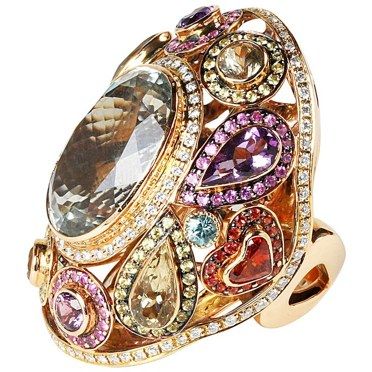 Vibrant Multi Gemstone Gold Ring | From a unique collection of vintage fashion rings at https://www.1stdibs.com/jewelry/rings/fashion-rings/