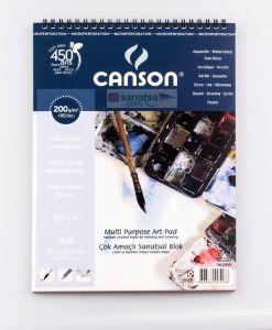 Canson Finface Çok Amaçlı Sanatsal Blok 200 gr. Spiralli A4 20 Sayfa
