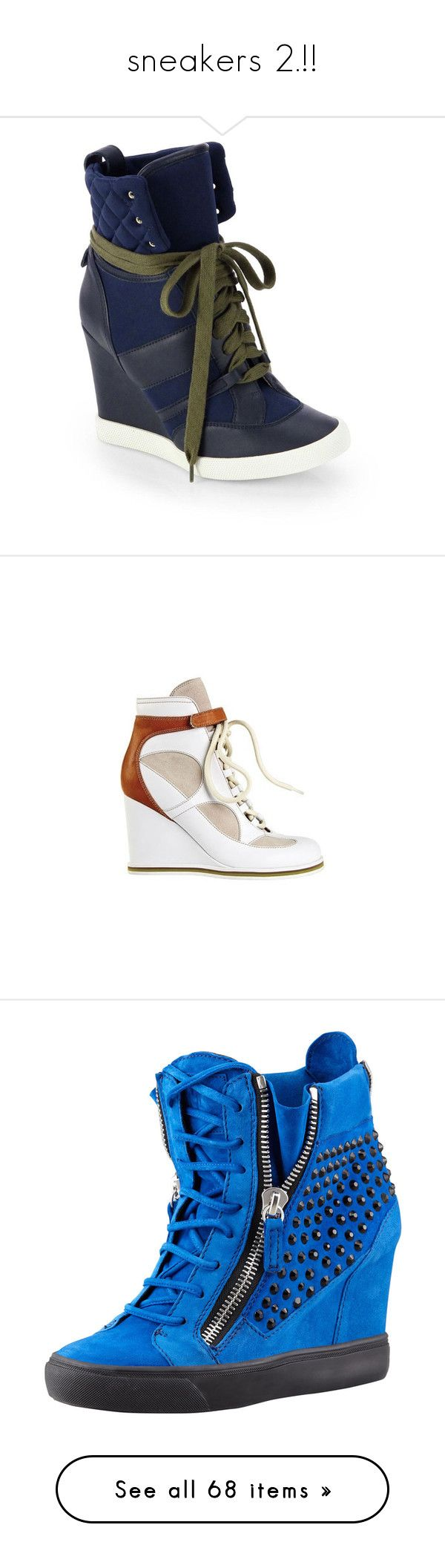 """sneakers 2.!!"" by maiiira-nair ❤ liked on Polyvore featuring shoes, navy, high heel platform shoes, leather shoes, leather platform shoes, rubber sole shoes, high heel shoes, wedges shoes, wedge heeled shoes and wedge sole shoes"
