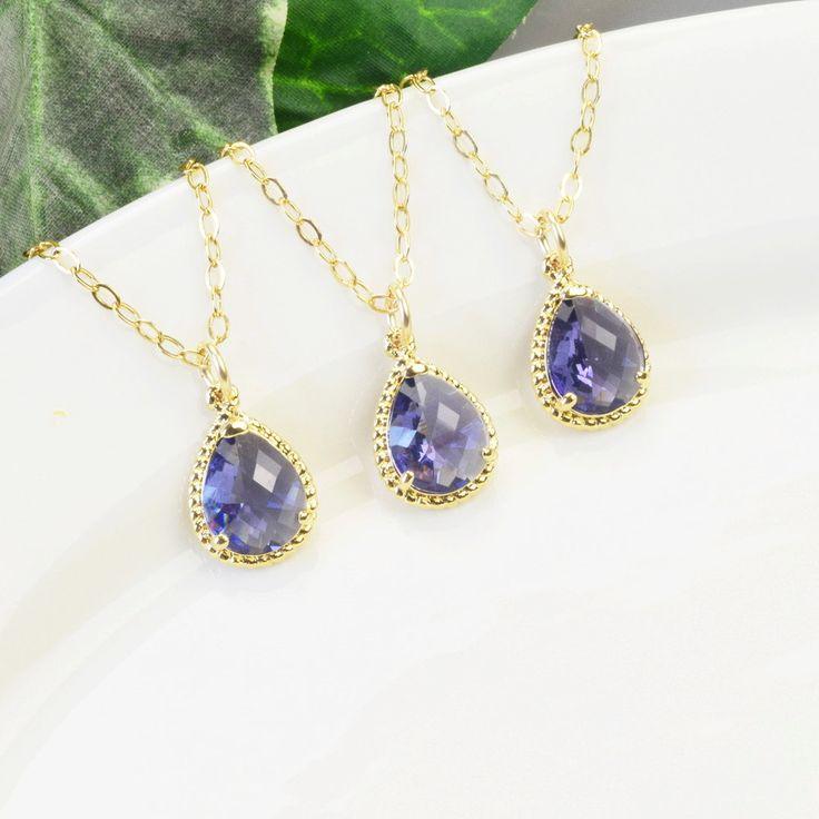 Tanzanite Necklace SET OF 8 - 15% OFF Gold Purple Bridesmaid Necklaces - Gold Purple Necklace - Bridesmaids Jewelry - Wedding Jewelry Set by MyDistinctDesigns on Etsy