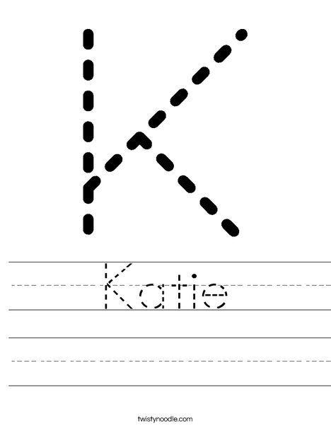 Katie Worksheet - Twisty Noodle | Printing practice sheets ...