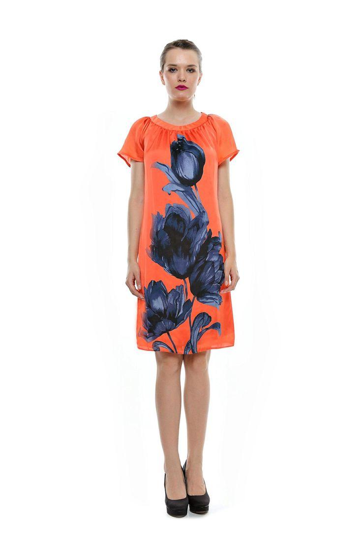 Rochie orange cu imprimeu floral albastru RO66 de la Ama Fashion