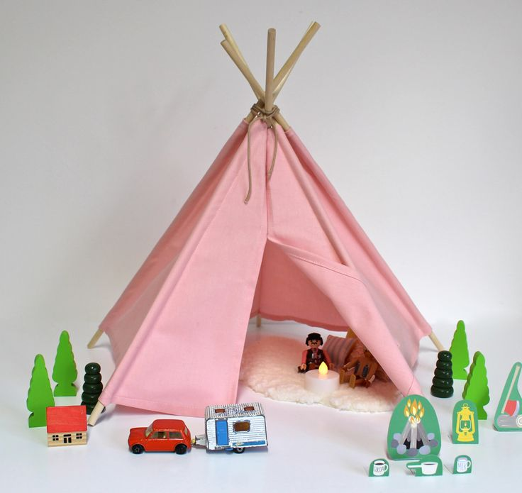 Mini teepee, tepee, tipi, wigwam for dolls, toys, play or display - pink teepee by BooBearBean on Etsy (null)
