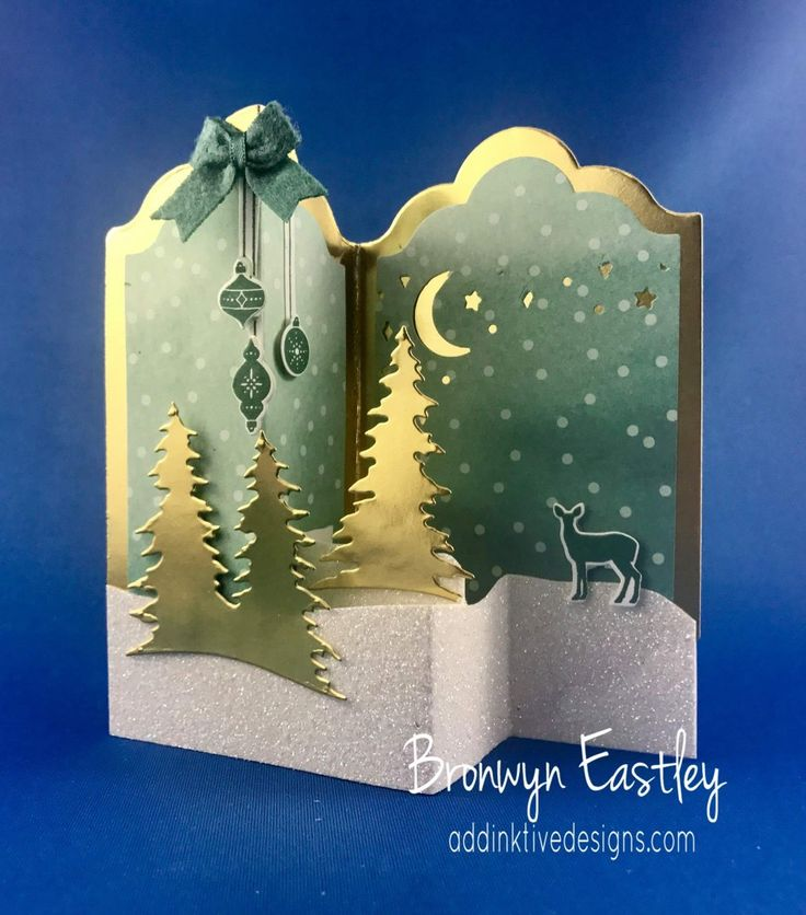 handmade Christmas card ... fun fold ... gold foil, white glitter and mint card stocks ... die cut trees ... beautfiful card ....Stampin' Up!