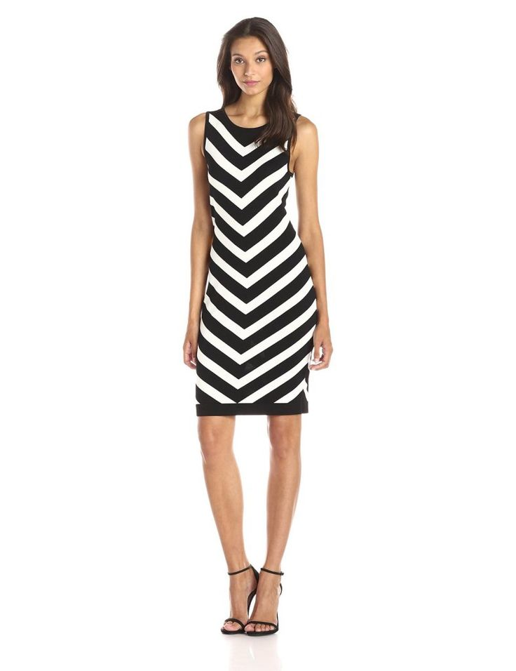 Vince Camuto Women's Sleeveless Chevron Stripe Sweater Dress