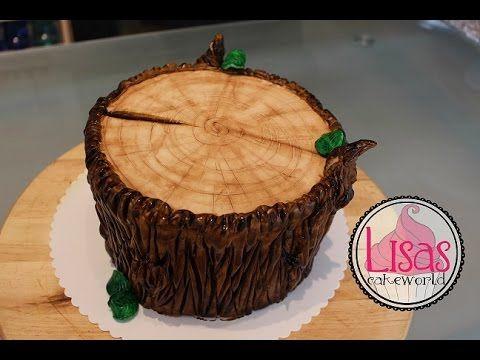 Motivtorte Baumstamm Tree Stump Cake Youtube Cakes