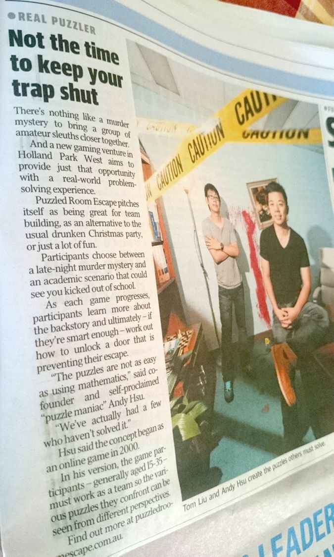 A big thank you to the Mx Newspaper for featuring us on their newspapers this Tuesday. Grab yourself a copy before it's too late folks! www.puzzledroomescape.com.au