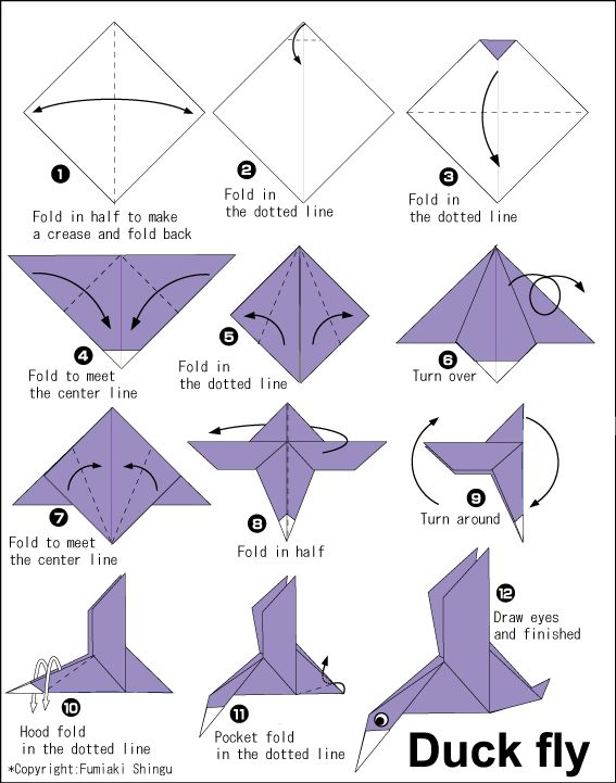 Duck Fly - Easy Origami instructions For Kids