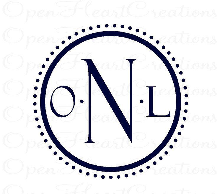 modern three initial monogram vinyl wall decal