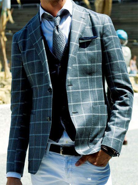 Window pane sport jacket, vest, shirt & tie with denim jeans... Classic look.  Love it!