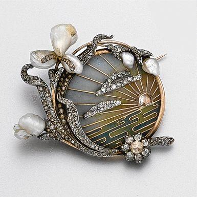 Art Nouveau plique-à-jour enamel, diamond and pearl brooch, circa 1900 - Sotheby's