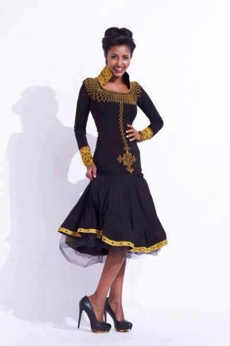 Ethiopian traditional fashion dress, available for ordering online.