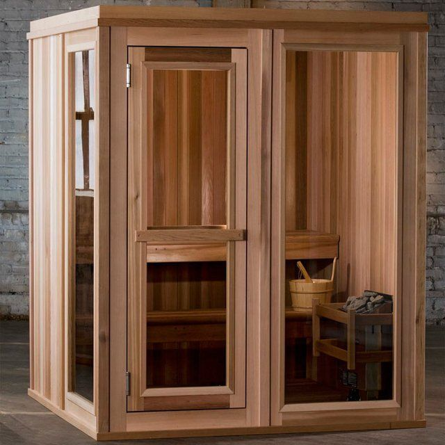 Treat yourself. This at-home sauna made from all natural Western Canadian Red Cedar is the ultimate at-home spa experience. Indoor placement. High-grade Tongue and Groove Western Canadian red cedar: 1-3/8″ finished thickness. Stainless steel hinges, heater and fasteners. Tempered and tinted full glass door with self-closing hinges. Tempered and tinted front and side floor-to-ceiling windows. 2 benches, multi-level seating. Removable duckboard floor sections. Partially pre-assembled panel ...