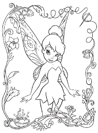 The kids will love this cute Disney Tinkerbell coloring page! | easy kids crafts