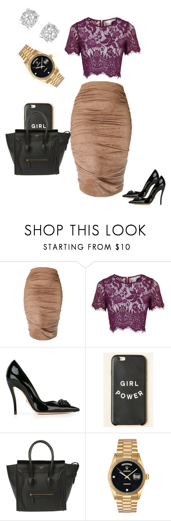 """I walk on bishes with my Versace shoes 💋"" by trendyhoee ❤ liked on Polyvore featuring Topshop, Versace, Rolex and Effy Jewelry"