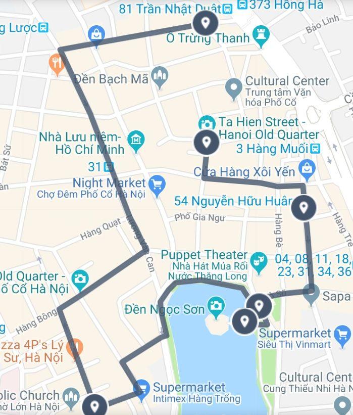 Ha Noi Vietnam Map.A Historical Walk Through Hanoi Old Quarter Sightseeing Tour Map