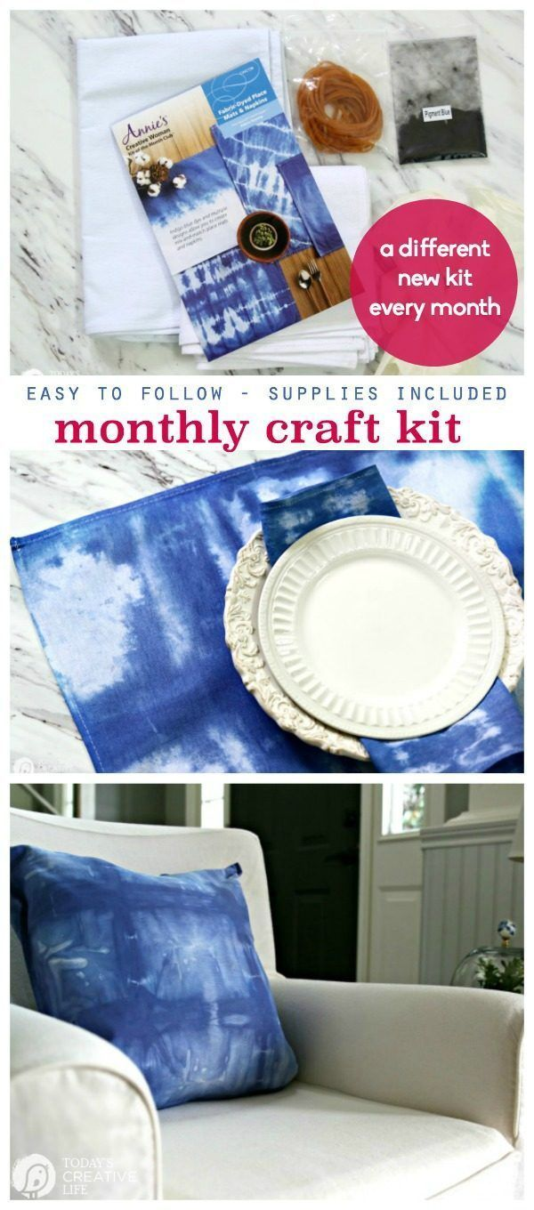 Easy Monthly Craft Kits from Annies | All supplies included | Shibori tie dye Placemats and pillows. Easy Craft Ideas | DIY Projects | TodaysCreativeLife.com