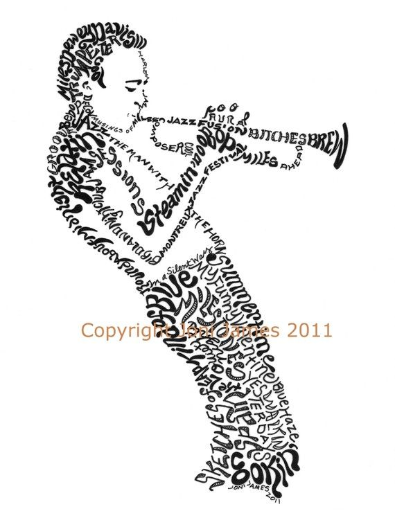 Portrait of Miles Davis Art Typography Drawing, Jazz Musician Miles Davis Calligram Illustration, Jazz Art Print Famous Musicians