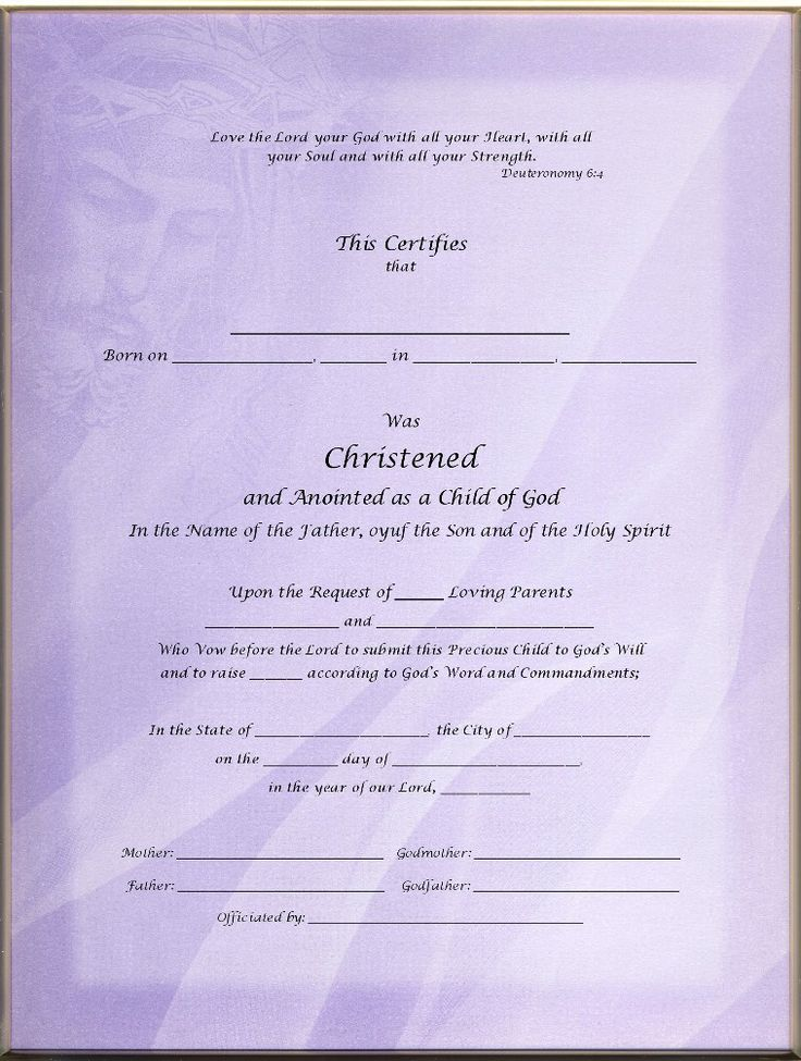 christening certificates for godparents