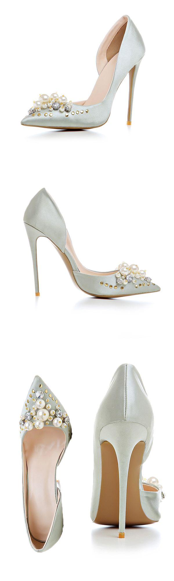 Material:Silk Fabric>You will need this Rhinestone Beads Rivet Stiletto Heels