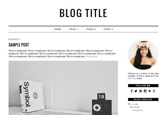 Premade Blogger Template Instant Download  by CristinadkDesign
