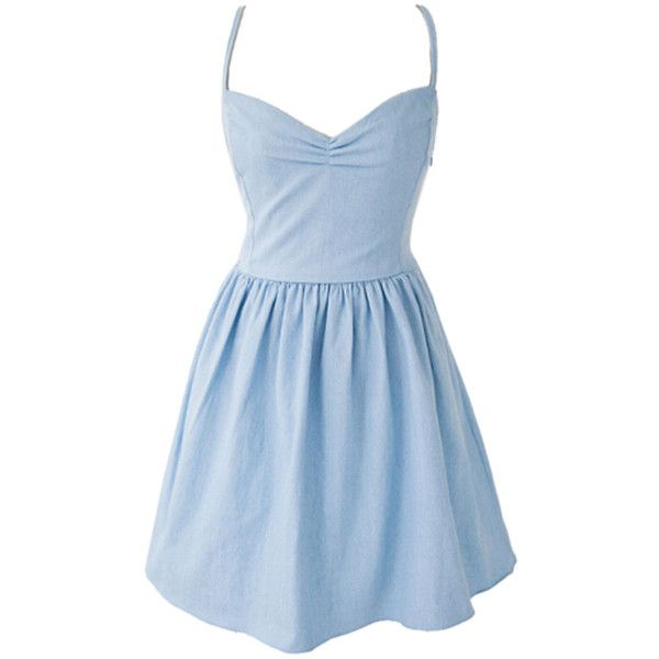 Choies Light Blue Sweetheart Spaghetti Strap Tied Back Skater Dress (€25) ❤ liked on Polyvore featuring dresses, vestidos, short dresses, blue, blue sweetheart dress, spaghetti strap dress, blue mini dress and sweetheart skater dress